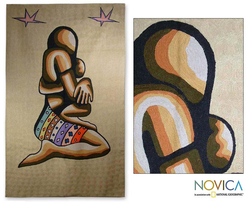 Indian Motherhood Chain stitched Kashmiri Rug (3 x 5)