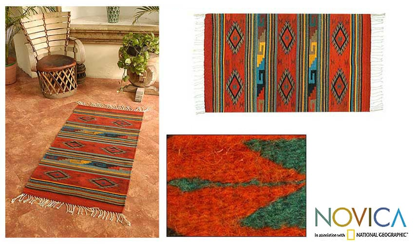 Mexican Zapotec 'Rhombus Fire' Wool Rug (2'6 x 5')