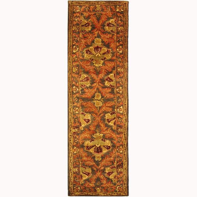 Safavieh Handmade Kerman Sage/ Gold Wool Runner (2'3 x 8')