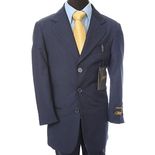 Ferrecci Boy's Navy Blue Three-button Suit