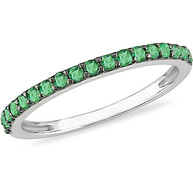miadora 10k white gold emerald semi eternity ring