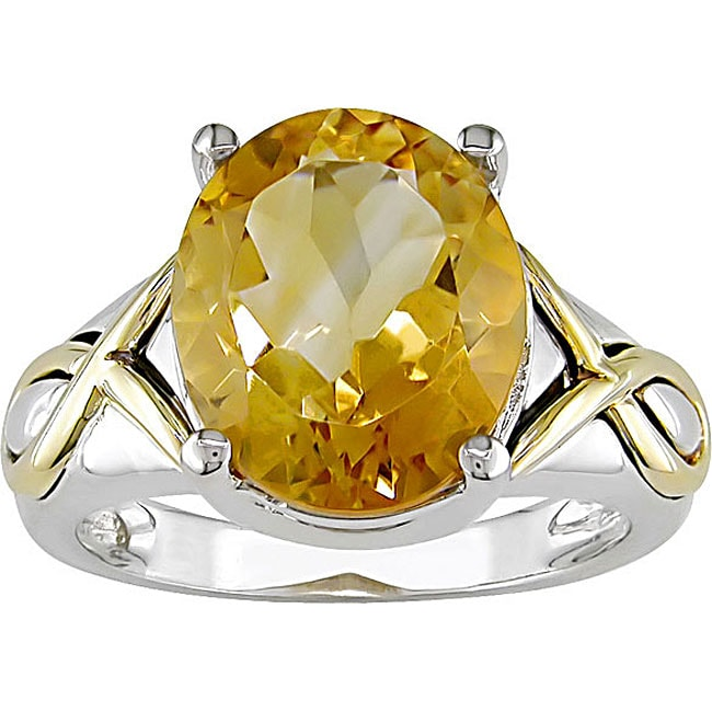 Miadora Sterling Silver and 10k Gold Citrine Ring