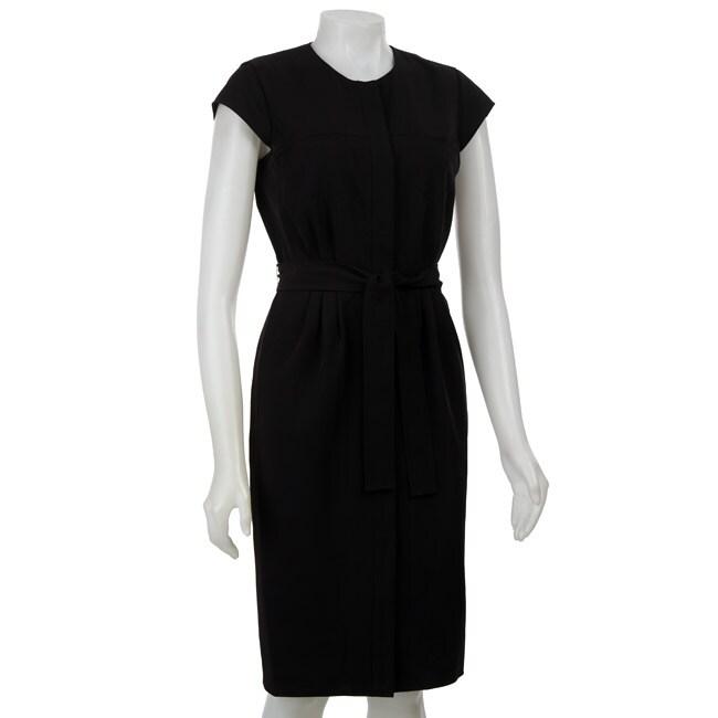 Calvin Klein Women's Black Snap-front Cap Sleeve Dress