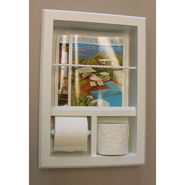 In wall bevel framed magazine rack toilet paper holder 12055942 shopping for Recessed in the wall bathroom magazine rack