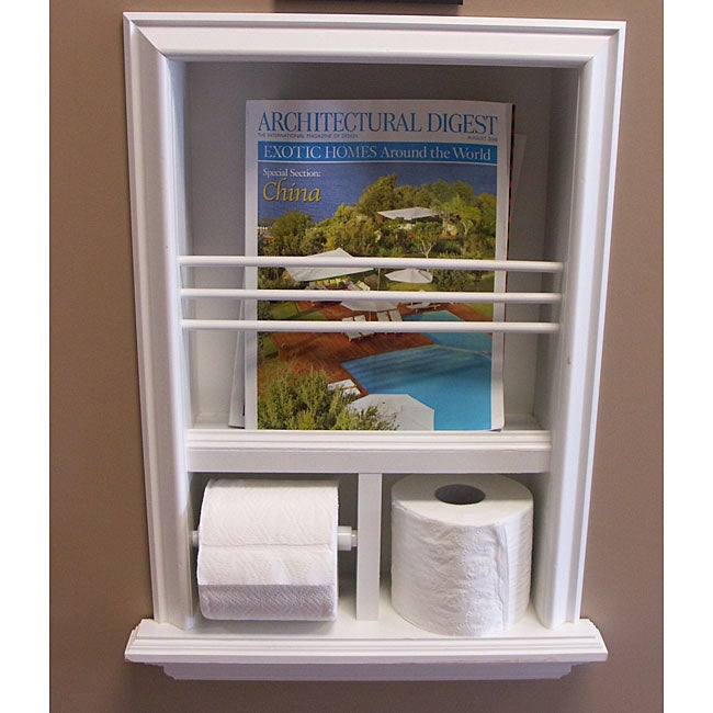 In wall bevel framed magazine rack toilet paper holder 12055988 shopping for Recessed in the wall bathroom magazine rack