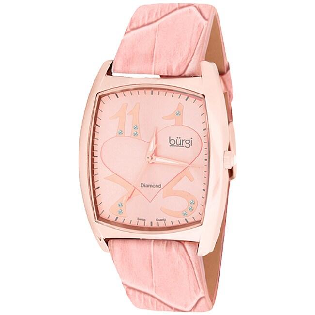 Burgi Women's 'Heart O' Diamonds' Quartz Diamond Watch