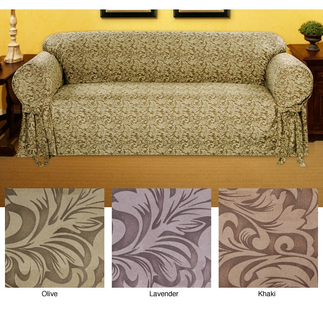 Embossed Round Arm Suede-like Chair Slipcover