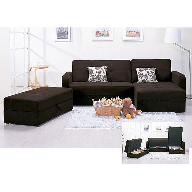 Microfiber 3-piece Chocolate Sectional Sofa and Ottoman Set
