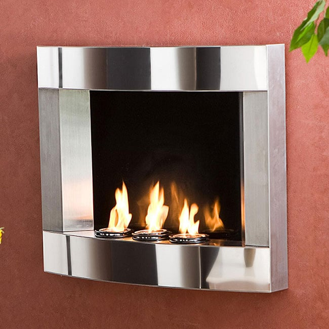 Stainless Steel Wall Mount Fireplace Overstock Shopping