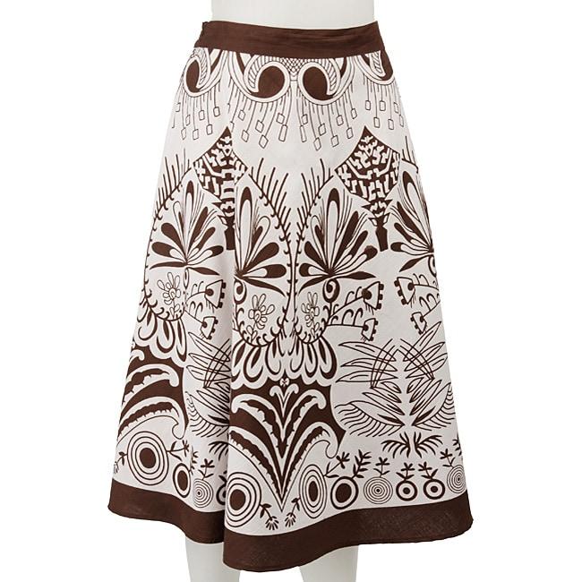 Studio West White/ Brown Allover Print Circle Skirt