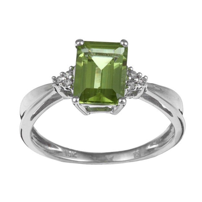 Miadora 10k White Gold Peridot and Diamond Accent Ring
