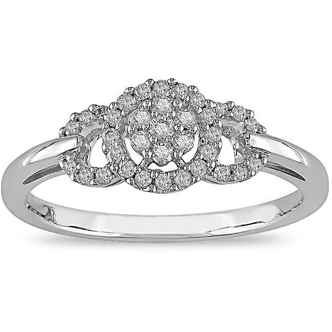 Miadora 10k White Gold 1/5ct TDW Diamond Halo Ring (I-J, I2)