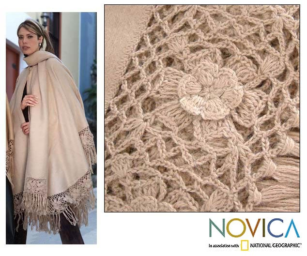 'Flower of Peru' Alpaca Wool Full Poncho (Peru)