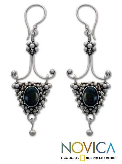 Sterling Silver 'Black Iris' Onyx Drop Earrings (Indonesia)