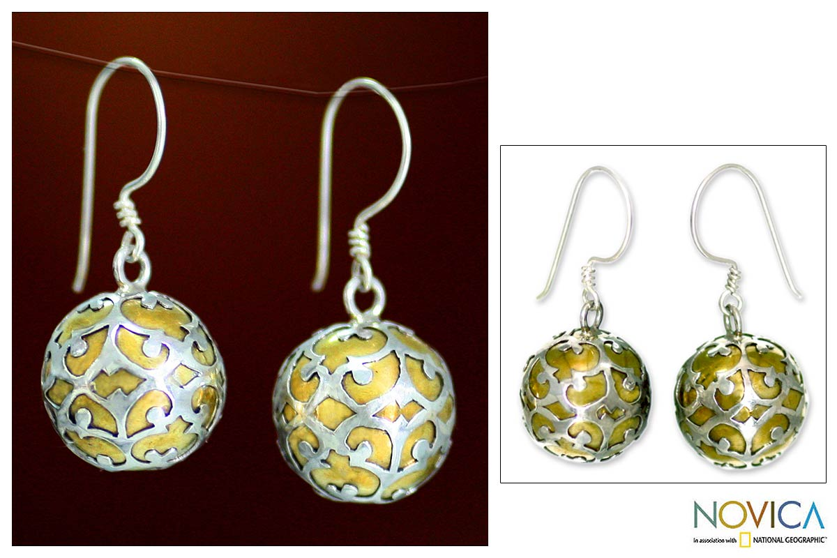 Sterling Silver and Brass 'Global Chic' Earrings (Indonesia)
