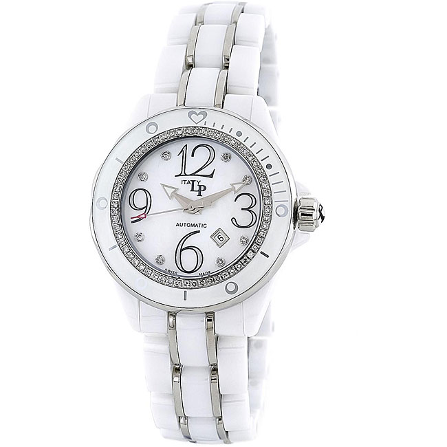 LP Italy Celano Women's White Ceramic Diamond Watch