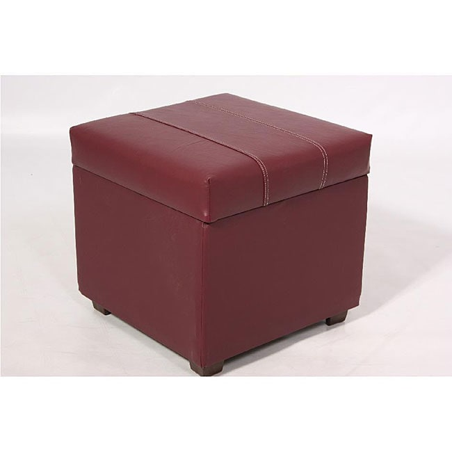 Leather Gmbh Contact Us Email Sales Mail: Burgundy Faux Leather Storage Ottoman