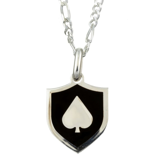Sterling Essentials Sterling Silver 22-inch Lucky Spade Medal Necklace