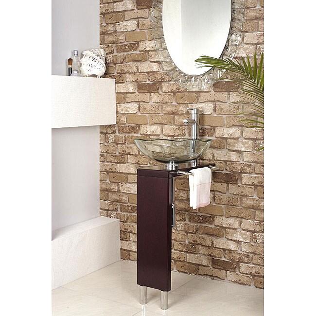 Kiliv Glass Sink/ Wood-base Pedestal Vanity Set
