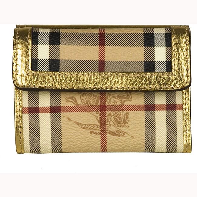 Burberry Haymarket Gold Designer Wallet