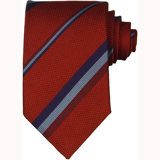 Gucci Men's Red Diagonal Stripe Silk Tie