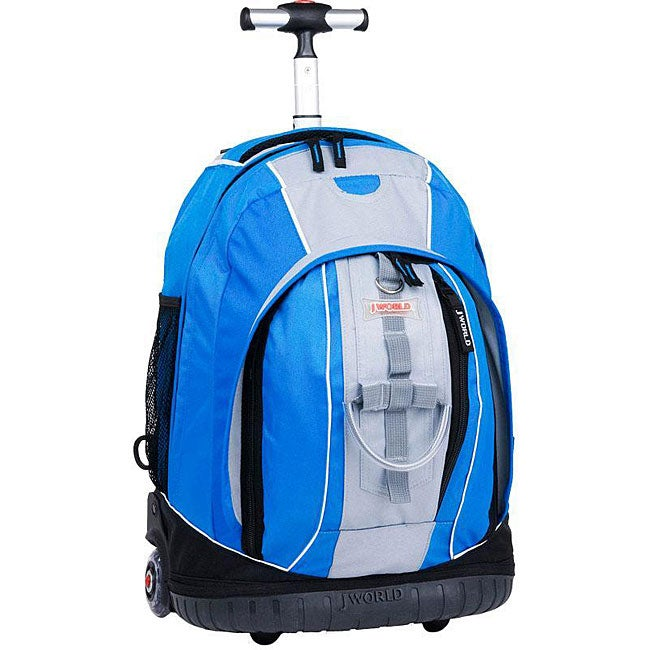 World Twinkle Blue/ Black Rolling Backpack with Lightning Wheels