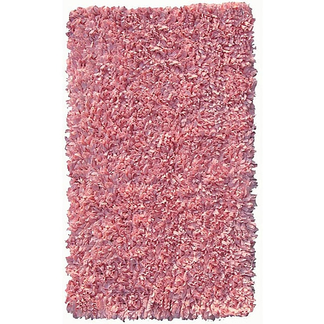 Soft Cotton Pink Shag Rug (4'7 x 7')