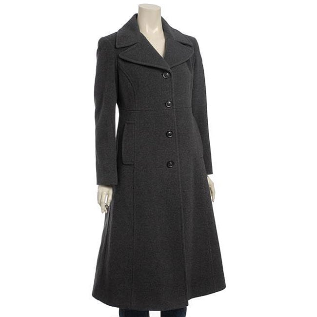 DKNY Women's Petite Long Wool Coat