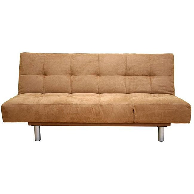 Brown microfiber futon sofa bed overstock shopping for Sofa bed overstock