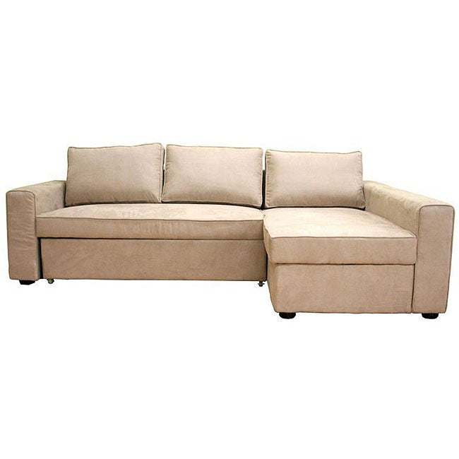 Beige microfiber sectional sofa with storage chaise for Beige sectional with chaise