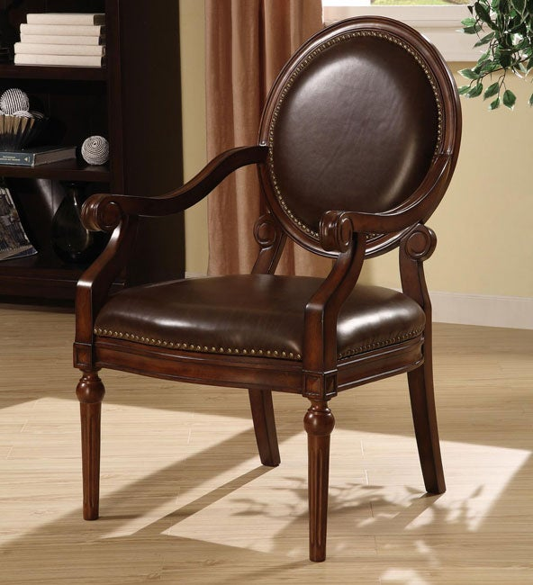 Roll Arm Bi Cast Leather Nailhead Accent Chair 12105186