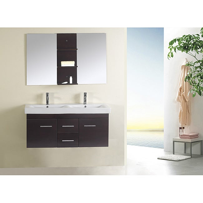 Espresso Finish 47-inch Double-sink Bathroom Vanity Set