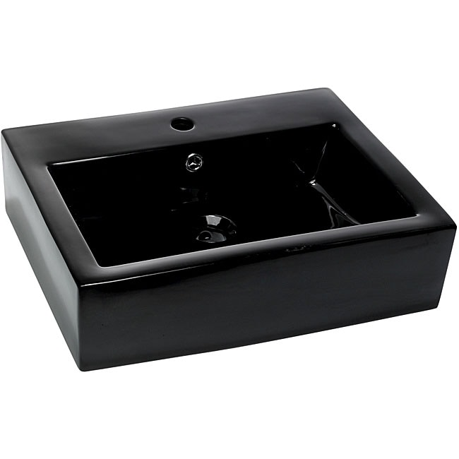 DeNovo Rectangular Black Porcelain Bath Vessel Sink