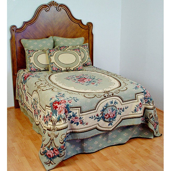 Aubusson King Size Sage Tapestry Coverlet Set With Skirt