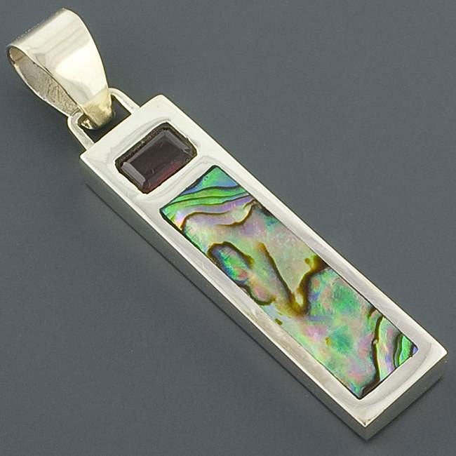 Sterling Silver Garnet and Rainbow Abalone Pendant (Indonesia)