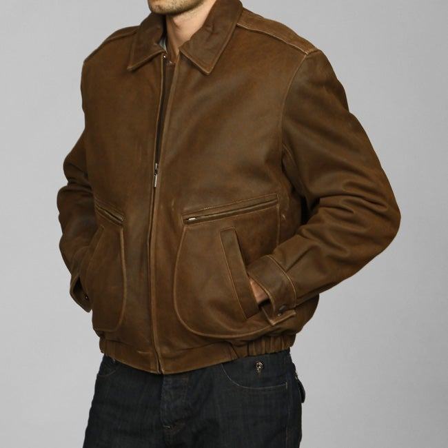 Izod Men's Big and Tall Distressed Leather Bomber Jacket