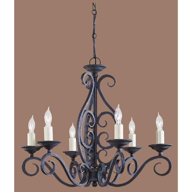 Devonshire Weathered Iron 6-light Chandelier