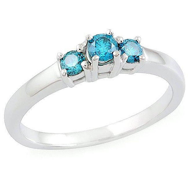 14k Gold 1/3ct TDW Blue Diamond 3-stone Ring (SI) (Size 6.5)