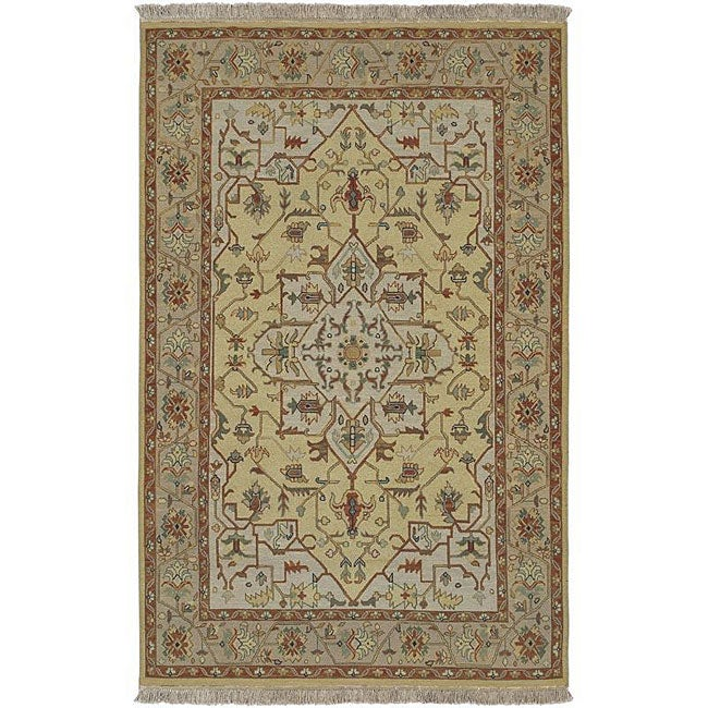 Hand-knotted Sangli Beige Wool Rug (4' x 6')