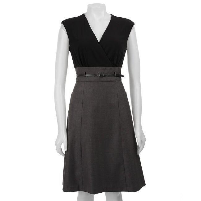Calvin Klein Womens Belted Career Dress