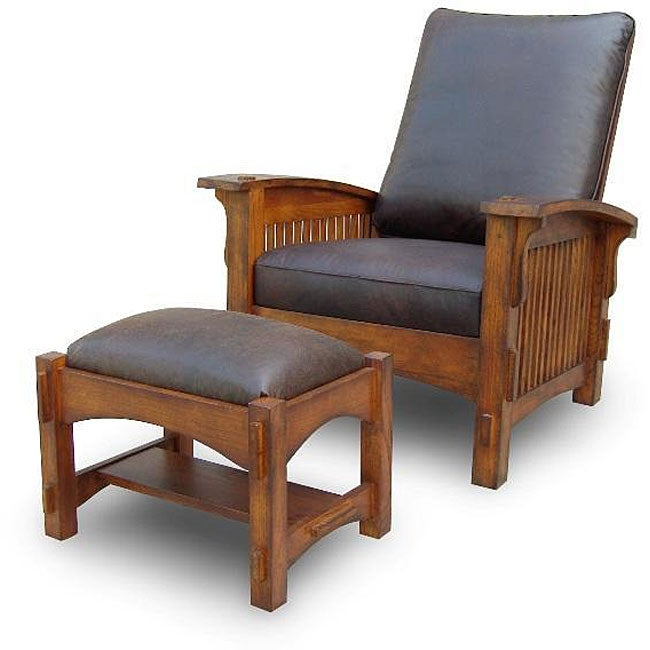 Vintage Leather Morris Chair With Ottoman 12146686