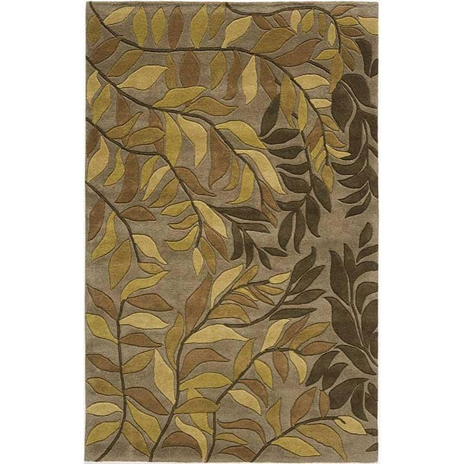 Hand-tufted Branches Beige Wool Rug (5' x 8')