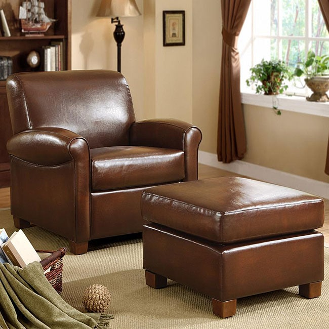 Metropolitan faux brown leather chair and ottoman set - Cheap comfortable living room chairs ...