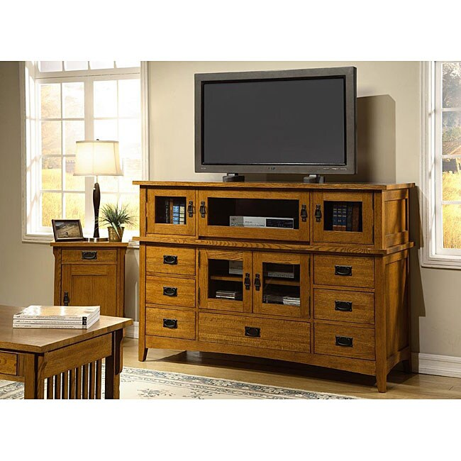 Mission Solid Oak 42-inch Plasma Console with Hutch