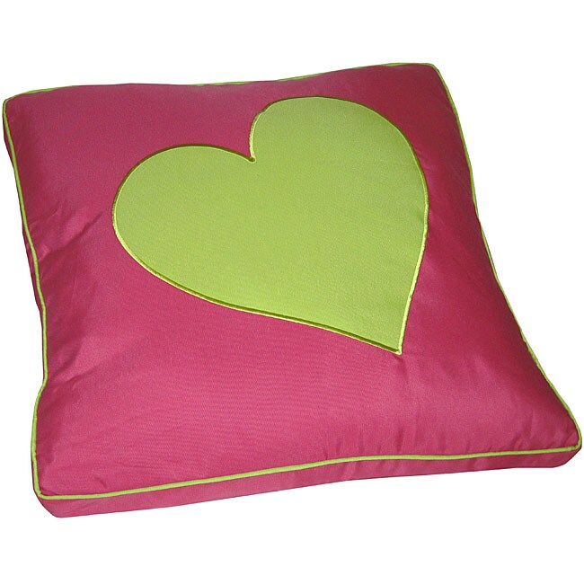 Plush Floor Pillows : Pink and Lime Heart Applique Plush Floor Cushion - 12185795 - Overstock.com Shopping - Great ...