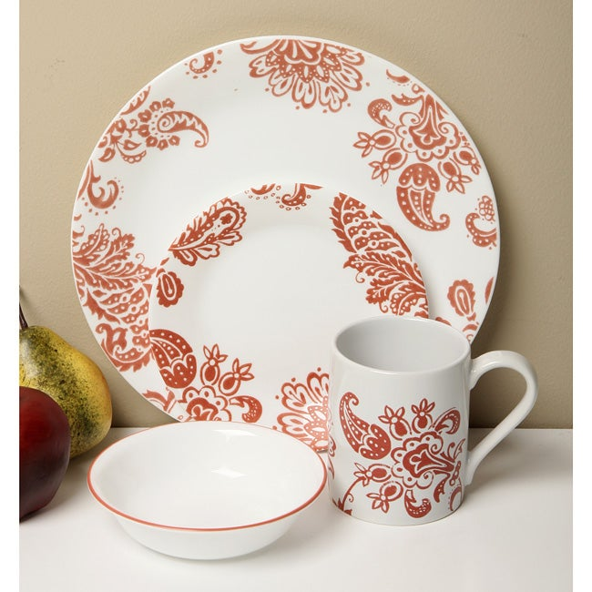 Corelle Impressions Red Paisley 20-piece Dinnerware Set