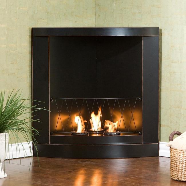 Black copper corner gel fuel fireplace 12216091 for Indoor corner fireplace