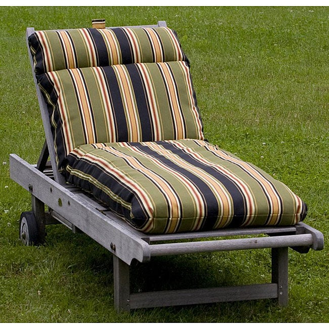 Outdoor black stripe chaise lounge cushion 12216332 for Black and white striped chaise lounge cushions