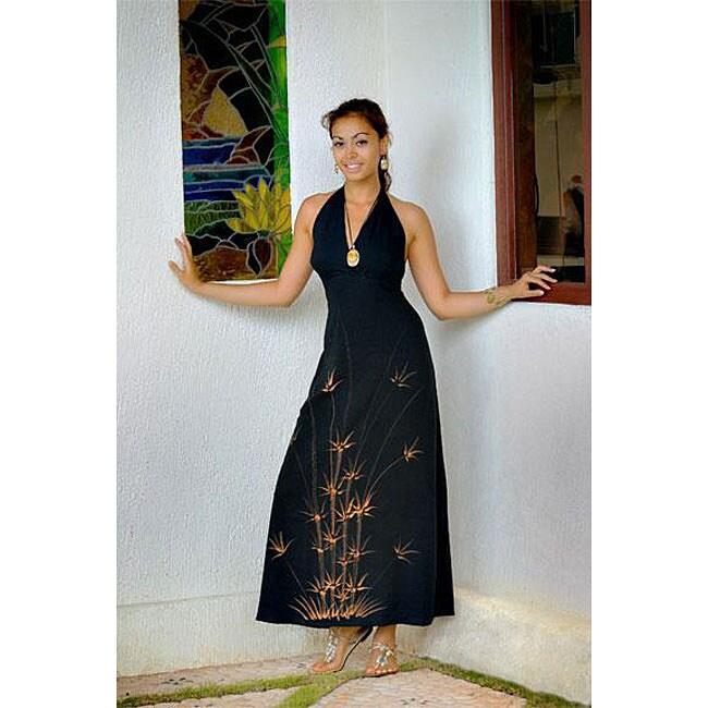 Black Floral Full-length Halter Dress (Indonesia)
