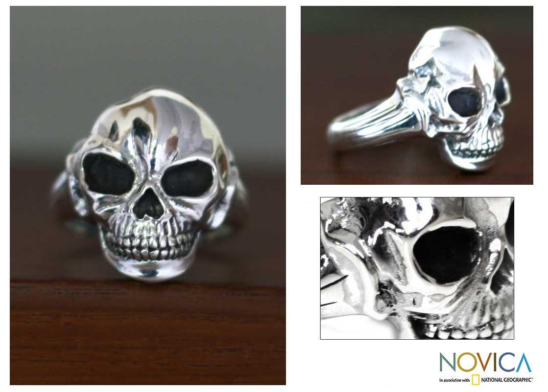 Sterling Silver Men's 'Lunar Skull' Ring (Indonesia)